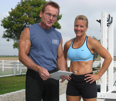 EJ & Marlene having fun shooting a fitness video